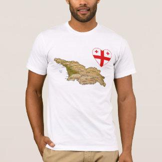 Georgia-Flaggen-Herz und Karten-T - Shirt