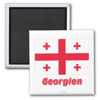 Georgien Flagge MIT Namen Quadratischer Magnet