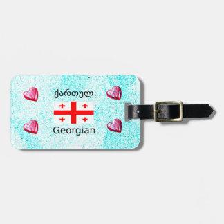 Georgische Sprache und Flaggen-Entwurf Gepäckanhänger