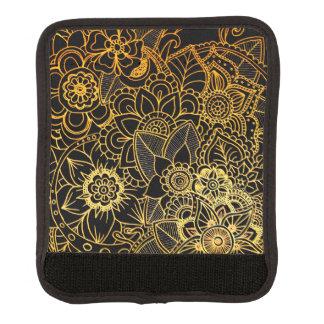 Gepäck-Griff-Verpackungs-Blumengekritzel-Gold G523 Gepräckgriffwickel