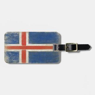 Gepäckanhänger mit beunruhigter Flagge von Island