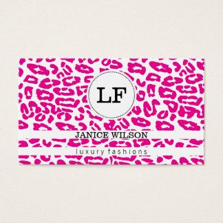 Gepard-Druck des Monogramm-| (Pink) Visitenkarte
