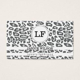Gepard-Druck des Monogramm-| (weiß) Visitenkarte