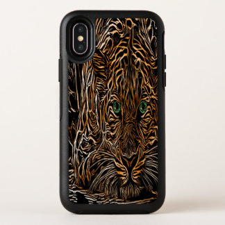 Gepard mit einem gebrannten hölzernen Korn-Effekt OtterBox Symmetry iPhone X Hülle
