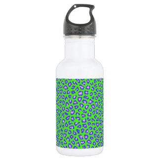 Geparddruckblau auf Grün Edelstahlflasche