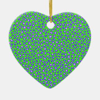 Geparddruckblau auf Grün Keramik Ornament