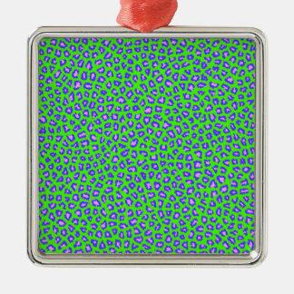 Geparddruckblau auf Grün Silbernes Ornament