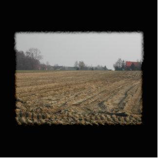 Gepflogenes Feld im Winter. Szenisch Fotoskulptur Schlüsselanhänger
