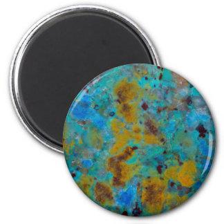 Gepunkteter blauer Chrysocolla Jaspis Runder Magnet 5,1 Cm