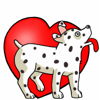 Gepunkteter Hund mit Herzen - Fotoskulptur