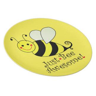 Gerade Bienen-fantastische gelbe Hummel-Biene Melaminteller