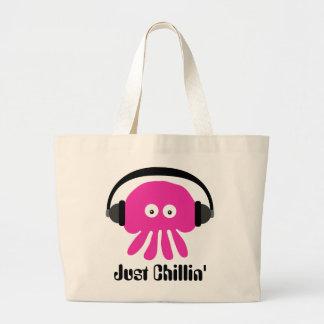 Gerade Chillin rosa Quallen mit Kopfhörern Taschen