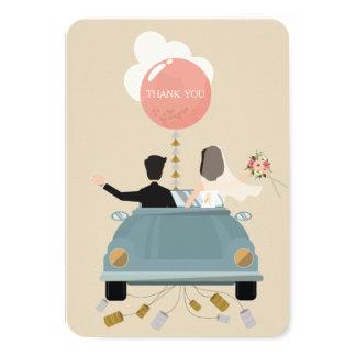 Gerade danken verheiratete Autohochzeit Ihnen zu 8,9 X 12,7 Cm Einladungskarte