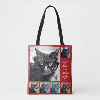 Gerade eine Dame, ist es die Katze, die verrückt Tasche