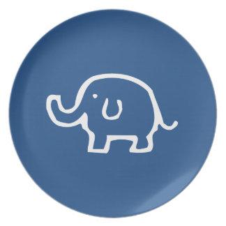 Gerade eine weißer Elefant-Platte Flache Teller