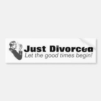 Gerade geschieden: Mann-Scheidungs-Feier-Spaß Autoaufkleber
