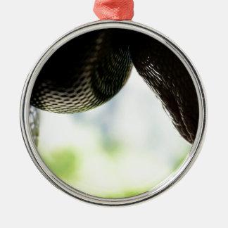 Gerade hängende Pythonschlange Rundes Silberfarbenes Ornament