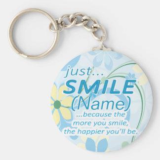 Gerade Lächeln addiert einen Namen Standard Runder Schlüsselanhänger