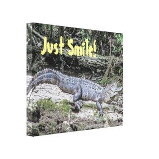 Gerade Lächeln-Alligatornatur-Zitat-Leinwand-Druck Leinwanddruck