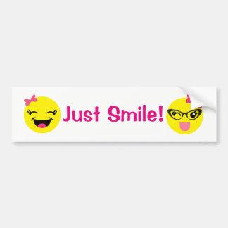 Gerade Lächeln Girly Emojis Autoaufkleber