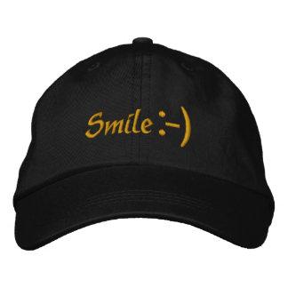 Gerade Lächeln-Hut - Lächeln-Ikone Bestickte Kappe