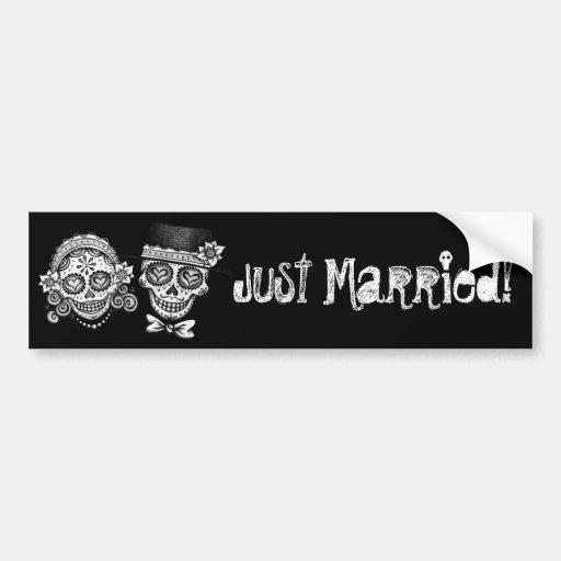 Gerade verheiratet! Autoaufkleber Dia de Los Muert