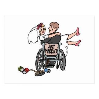 Gerade verheiratet (Bräutigam-Rollstuhl) Postkarte