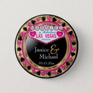 Gerade verheiratet in fabelhaftem Rosa Las Vegas | Runder Button 5,1 Cm