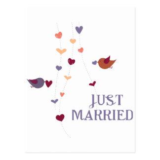 Gerade verheiratet postkarte