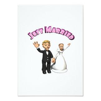 Gerade verheiratete 2 12,7 x 17,8 cm einladungskarte