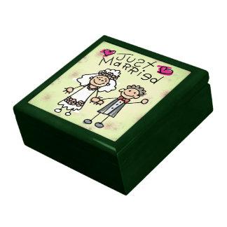 Gerade verheiratete Cartoon-Kinder Große Quadratische Schatulle