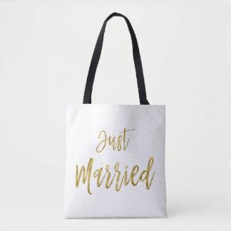 Gerade verheiratete Goldfolien-Braut-Strand-Tasche Tasche