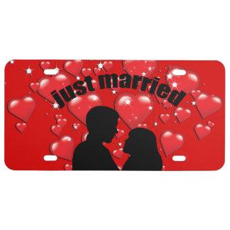 Gerade verheiratete Herz-Lotta-Liebe-Lizenz-Platte US Nummernschild