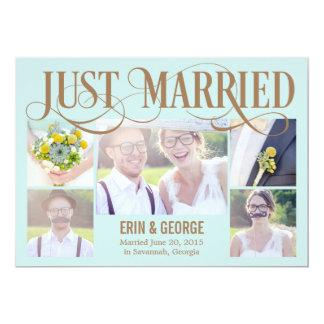 Gerade verheiratete Hochzeits-Mitteilung - Blau 12,7 X 17,8 Cm Einladungskarte