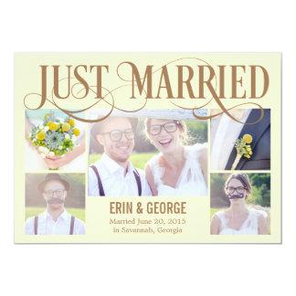 Gerade verheiratete Hochzeits-Mitteilung - Gelb 12,7 X 17,8 Cm Einladungskarte