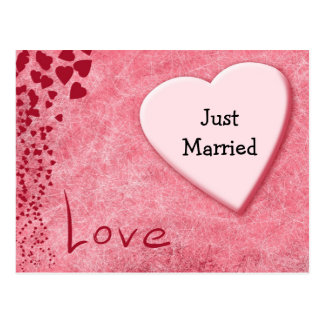 Gerade verheiratete Hochzeits-Mitteilungs-Liebe-Po Postkarte