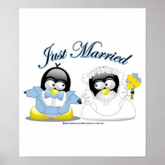 Gerade verheiratete Penguins Poster