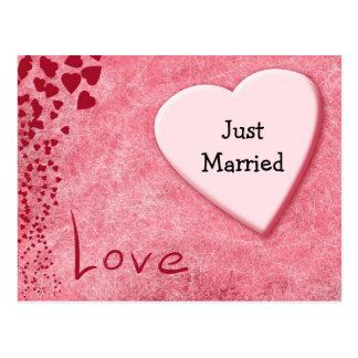 Gerade verheiratete postkarte