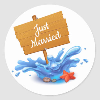 Gerade verheiratete runder aufkleber