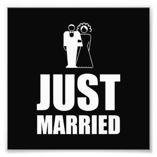 Gerade verheirateter Hochzeits-Braut-Bräutigam Kunst Fotos