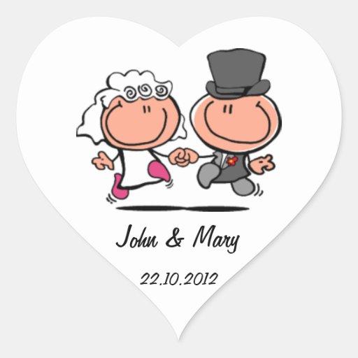 Gerade verheirateter Hochzeitspaar-Cartoon Aufkleb Herz Aufkleber