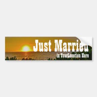 Gerade verheirateter tropischer Strand Autoaufkleber