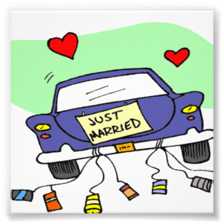 Gerade verheiratetes Auto Foto