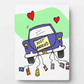 Gerade verheiratetes Auto Fotoplatte