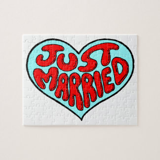 Gerade verheiratetes blaues Herz Puzzle