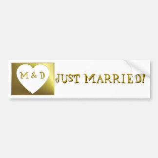 Gerade Weds verheiratetes Monogramm goldenen Autoaufkleber