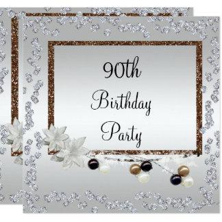 Gerahmte Eleganz-90. Geburtstag Quadratische 13,3 Cm Einladungskarte