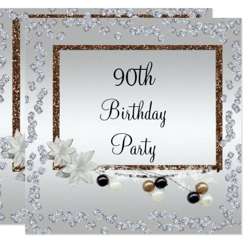Gerahmte Eleganz 90. Geburtstag Quadratische 13,3 Cm Einladungskarte ...
