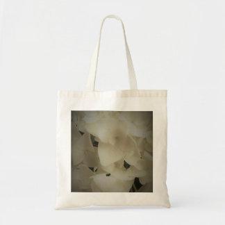 Gerahmte weiße Blumenblätterhydrangea-Tasche Tragetasche