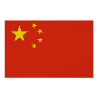 Gerahmter Druck mit Flagge der China Poster